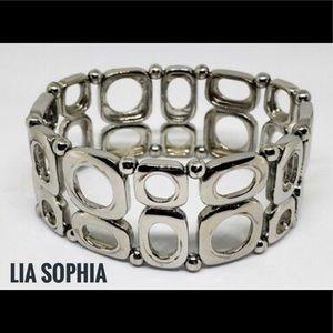 Lia Sophia MERCURY Silver Tone Stretch Bracelet